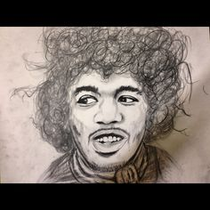 Jimmy Hendrix pencil drawing by Kelly DeChristopher
