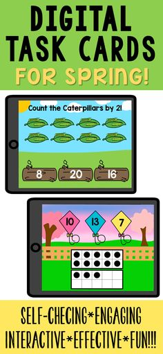 Help students practice math and literacy skills with spring-themed fun, engaging, no-prep digital activities! These activities are self-checking and simple to use. Skills practiced are addition, ten frames, digraphs, color words, spelling, skip-counting, reading simple sentences, and CVC words. 8 decks are included with 175 task cards in all! Kindergarten Learning, Kindergarten Centers, Math Literacy, Literacy Skills, Preschool, Simple Sentences, Skip Counting, Ten Frames, Cvc Words