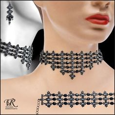 Free pattern for amazing beaded Necklace Black Swan by Viktoria Rumiantzeva.