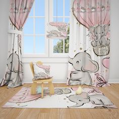 Excited to share this item from my #etsy shop: Cute Elephants and Balloons Baby Girl Room Curtain Nursery Curtains Window Curtains Baby Curtains, Girls Room Curtains, Nursery Curtains, Closet Curtains, Window Curtains, Curtains Pictures, Baby Room Closet, Cute Elephant, Girl Room