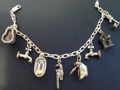 Vintage Charm Bracelet Collection - Wave Plumbing Silver Charm Bracelet