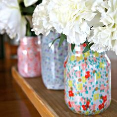 With just mason jars, strips of fabric, and Mod Podge, you can create some beautiful vases that will brighten up your decor this Spring! It's an easy and quick craft even your kiddos can help with! Dwelling in Happiness featured on Kenarry.com