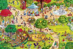 In het park. Cartoon Art Styles, Cartoon Pics, Hidden Words In Pictures, Sequencing Pictures, Vintage Illustration Art, Kunst Poster, Puzzle Art, Picture Story, School Pictures