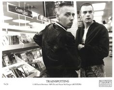 Ewan McGregor and Ewen Bremner in Trainspotting. Directed by Danny Boyle, movie released in 1996.