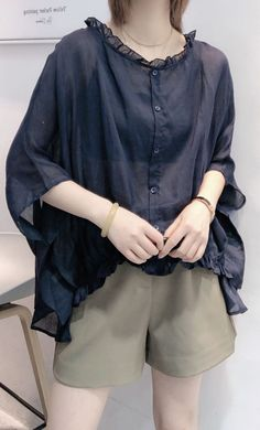 Art Navy Tops O Neck Ruffles Knee Shirts Loose Fit, Ruffles, Linen Dresses, Navy Tops, Half Sleeves, Custom Shirts, Couture, How To Wear, Summer Time