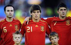 Andres Iniesta, David Silva and David Villa