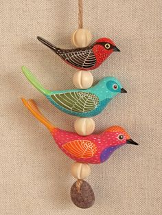 Painted Fimo birds by Geninne