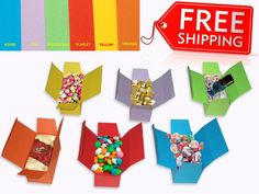 Gift Boxes Party Birthday Keepsake Treat Cake Cookie Candy Color Cardboard Gofre #Prometheus #Events Small Gift Boxes, Party In A Box, Candy Colors, Cake Cookies, Paper, Birthday, Prints, Ebay, Waffles