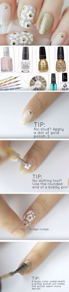 Marc Jacobs Daisy Inspired | Click Pic for 22 Easy Spring Nail Designs for Short Nails 2016 | DIY Beach Nail Art Ideas for Teens