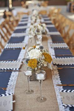 Beautiful burlap runner over navy classic solid with navy chevron napkins!  #FabulousEvents #wedding #natural #burlap #navy #chevron