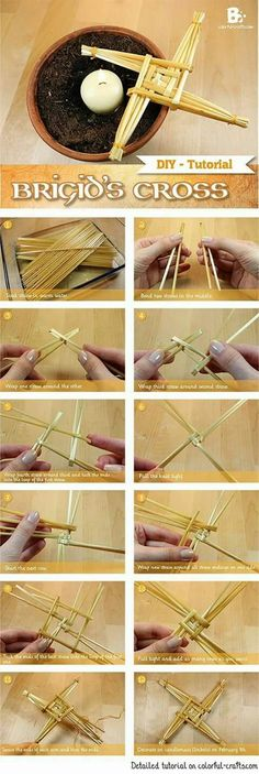Brigid's Cross Tutorial How to make a straw cross for Candlemas Imbolc Ritual, Beltane, Mabon, Samhain, Brigid's Cross, Wiccan Crafts, Eclectic Witch, Color Crafts, Book Of Shadows