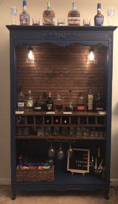 Repurposed armoire into bar with shiplap back 10 wine bottle slots rocks glass Repurposed Furniture armoi Armoire Bar bottle glass Repurposed Rocks Shiplap slots Wine Home Bar Furniture, Refurbished Furniture, Cabinet Furniture, Repurposed Furniture, Furniture Projects, Furniture Makeover, Home Projects, Nursery Furniture, Armoire Makeover