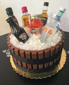 Drip cakes birthday cake for my son. Alcohol Birthday Cake, 21st Birthday Cake For Guys, 19th Birthday Cakes, Alcohol Cake, Birthday Cakes For Men, Cake Birthday, 25th Birthday, Boys 18th Birthday Gifts, Birthday Cake Ideas For Adults Men
