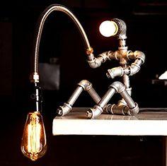 Fisherman Industrial Lamp, Industrial Desk lamp, Industrial Style Lamp, Lamp Pipe, Desk Lamp, Bedside Lamp by EBE