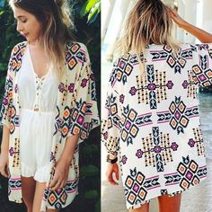 Sexy Fashion Women's 3/4 Sleeve Geometric Print Chiffon Cardigan Beach Loose-fitting Blouse Top Cover Up