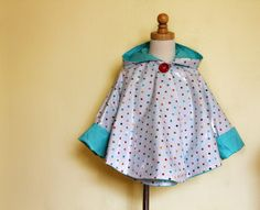Free Sewing patterns for children.love this raincoat/poncho Sewing Kids Clothes, Sewing For Kids, Baby Sewing, Diy For Kids, Diy Clothes, Clothes Refashion, Coat Patterns, Sewing Patterns Free, Free Sewing