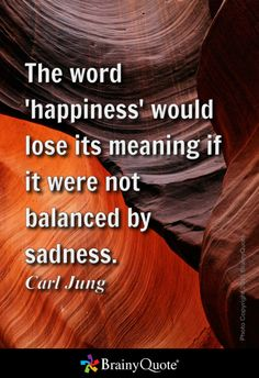 The word 'happiness' would lose its meaning if it were not balanced by sadness. - Carl Jung