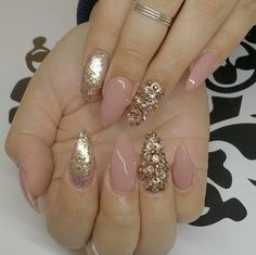 Nude & Gold Almond Shape Acrylic Nails