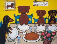 "Doxie's Holiday Dinner New Original Painting Julie Ellison Art  8"" x 10"""