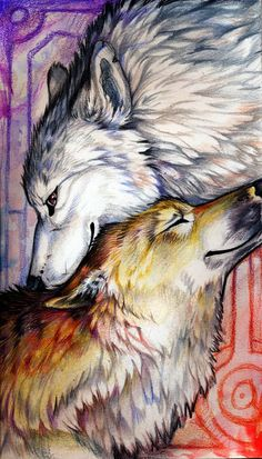 You all should enjoy this balanced double wolf painting - it's simple strokes struck a tender spot with me.