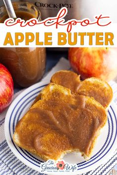 Crockpot Apple Butter is smooth, spiced, and tastes like apple pie! You would never guess just how easy it is to make and that it's actually healthy too! I love making crockpot apple butter, especially in the fall, because it makes my whole house smell like warm cinnamon apples. Basically the very essence of fall! | The Gracious Wife @thegraciouswife #crockpotapplecutter #applebutterrecipes #fallrecipes #slowcookerapplebutter #applebutterrecipes #thegraciousiwfe