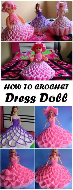 Crochet Doll Dress Step By Step- YouTube tutorial in Spanish, but she does a good job being clear enough you could probably understand what she's doing just by watching.