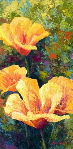 Yellow Field poppies Painting by Marion Rose - Yellow Field poppies Fine Art Prints and Posters for Sale