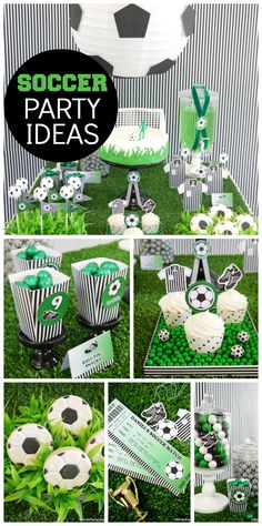 A green, black and white soccer boy birthday party inspired by the World Cup! See more party ideas at CatchMyParty.com!