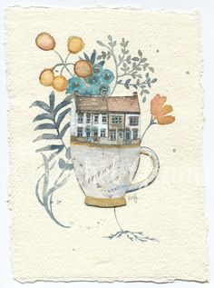 Original Watercolour Home In A Teacup No.2 by ArtByRachelGrant