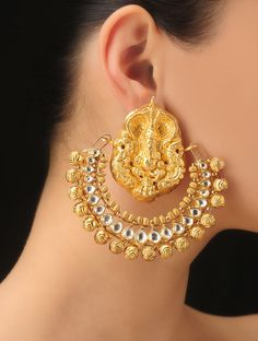 Buy Golden Lord Ganesh Sterling Silver Earrings 92.5% Jewelry Woven Spell Elegant Kanjivaram Sarees and Traditional with Pearls Online at Jaypore.com