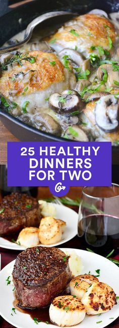 Whether you're wooing a S.O., sharing with a roomie, or want leftovers for lunch (rather than a week), these easy meals are just what you need. #healthy #dinner #recipes https://greatist.com/eat/healthy-dinner-recipes-for-two