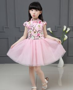 Cotton Fabric Floral Embroidery Cheongsam Dress for Girls - iChinesedress.com