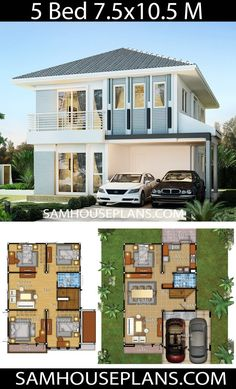 House Idea with 5 bedrooms – Sam House Plans - Home & DIY Two Story House Design, 2 Storey House Design, Sims House Design, Duplex House Plans, Bungalow House Design, New House Plans, Dream House Plans, Modern House Design, House Layout Plans