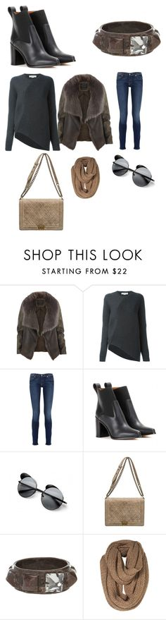 """""""Untitled #4794"""" by brittklein ❤ liked on Polyvore featuring AllSaints, STELLA McCARTNEY, 7 For All Mankind, Chloé, Le Specs, Chanel and Wendy Nichol"""