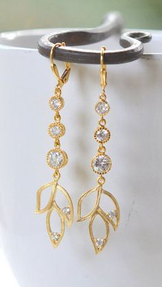 Long Gold Petal Earrings with Cubic Zirconia Jewels