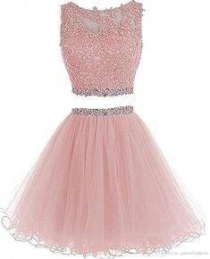 HTYS Beaded Two Pieces Prom Dresses Applique Short Homecoming Dresses Dama Dresses, Cute Prom Dresses, Prom Dresses 2015, Quince Dresses, 15 Dresses, Dresses For Teens, Fashion Dresses, Party Dresses, Homecoming Dresses Pink