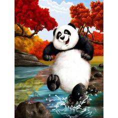 DIY Diamond Painting Panda Full Square Diamond Embroidery Cross Stitch Cute Panda Playing Animal Needlework Home Decorative Panda Wallpapers, Cute Wallpapers, Panda Lindo, Pandas Playing, Panda Painting, Baby Animals, Cute Animals, Kung Fu Panda, Cute Panda
