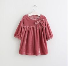 Brand Princess Dress Girl Cute Spring Autumn Cashmere Dress Exquisite Bow Casual 2018 New Kids Party Clothes Children Clothing Winter Blouses, Red Blouses, Girls Christmas Outfits, Kids Outfits, Christmas Clothes, Girl Sleeves, Girls Blouse, Dresses Kids Girl, Western Dresses