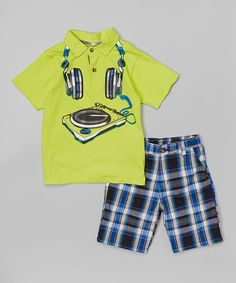 Banana Polo & Plaid Shorts - Toddler & Boys #zulily #zulilyfinds