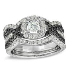 1-1/6 CT. T.W. Enhanced Black and White Diamond Bridal Set in 14K White Gold