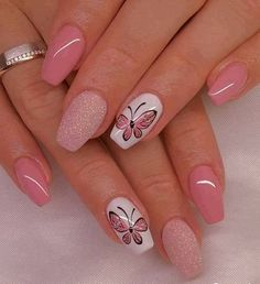 100 Beautiful Butterfly Nail Art Designs and Colors - Spring Nails Butterfly Nail Designs, Butterfly Nail Art, Butterfly Colors, Trendy Nail Art, Cool Nail Art, Best Nail Art Designs, Acrylic Nail Designs, Gorgeous Nails, Beautiful Nail Art