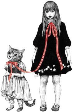 Yuko Higuchi (b1957 Tokyo, Japan) | ヒグチユウコのお絵かき&写真日記 Lowbrow Art, Cat Drawing, Japanese Artists, Pop Surrealism, Cat People, Cats And Kittens, Cat Art, Art Forms, Crazy Cats