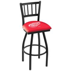 """Detroit Red Wings 25"""" Wrinkle Swivel Bar Stool with Jailhouse Style Back - $199.00"""