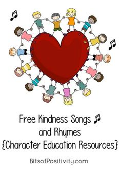 Lots of free kindness songs and rhymes for home or school; character education resources - Bits of Positivity kindness charactereducation homeschool character virtues kindnesssongs kindnesscounts choosekind 197173289922234037 Kindness Projects, Kindness Activities, Activities For Kids, Teaching Kindness, Kindness Ideas, Preschool Songs, Kids Songs, Songs About Kindness, Peace Education