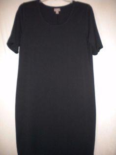 J Jill Size Medium Short Sleeve Black Pima Cotton Blend Casual Women Tunic Dress…