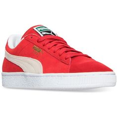 Puma Women's Suede Classic Casual Sneakers from Finish Line ($65) ❤ liked on Polyvore featuring shoes, sneakers, puma footwear, puma trainers, retro sneakers, suede leather shoes and puma sneakers