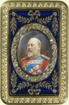 Enamel and gold box with inset miniature of Edward VII (1841-1910). Gold, enamel, diamonds, watercolour on ivory. Acquirer: King George V, King of the United Kingdom (1865-1936). Provenance:  Given to George V by Queen Mary in, or later than, 1910.