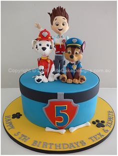 Our Paw Patrol  kids birthday cake from the popular kids TV series show,  featuring lookalike figurines of Ryder, Chase and Marshall !  All figurines are fully hand sugarcrafted to detail and may be kept as a keepsake!