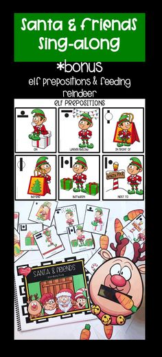 HOLIDAY SANTA Fun For SLPs And Teachers Interactive Sing Along Book Prepositions Flap