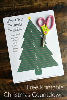 Trim A Tree Christmas Countdown free printable for kids.  Kids get so excited at Christmas time and this printable will help them count down to the big day!  Decorating a little of this Christmas tree each day is a beautiful way to count down to Christmas!  #lalymom #crafts #art #kids #children #preschool #homeschool